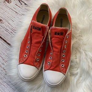 Converse Low Top Laceless Orange Sneakers Sz 13